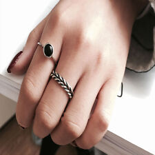 Women Black Onyx Ring Retro Thai Silver Braided Index Finger Cuff Open Ring Set