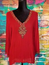 Women's Sequin Embellished Kurti Tunic Top Red Gold Sequin Club Party Wear