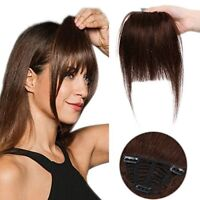 Human Hair Clip in Bangs Front Fringe Extension 100 Remy Real - Invisible Natur