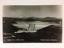 Shasta Dam California Night from Vista Point Real Photo Postcard Rppc Vintage