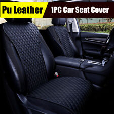 1x Black PU Leather Car Front Seat Cover Diamond Lattice Universal Cushion Pad