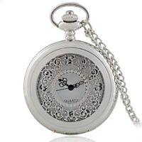Vintage Silver Design Hollow Pocket Watch Quartz Movement Pendant Necklace Chain