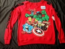 Marvel Red Ladies Tee shirt Top Size JR 11-13   New Long Sleeve