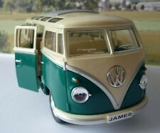 PERSONALISED PLATE Gift Green VW Camper Van Bus 17cm 1/24 Boys Girls Toy Model