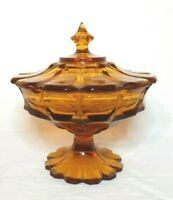 Vintage Fenton Florencia Amber Footed Compote Candy Dish Bowl with Lid