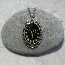 Moon Phases Aries Pendant Necklace Jewelry Antique Silver
