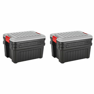 Rubbermaid 24 Gal Action Packer Lockable Latch Storage Container, Black (2 Pack)