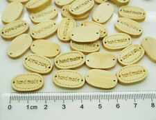 100pcs Handmade tag label Wooden Connector wood buttons Sew Scrapbooking Craft