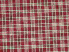 Cotton Plaid fabric Burgundy Ivory material slightly imperfect 1 Yard 17""