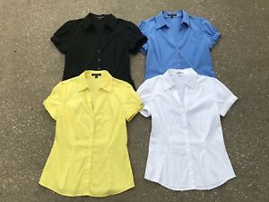 Express Short Puff Sleeve Button Up Fitted Shirt Lot M Career Tops Yellow Black
