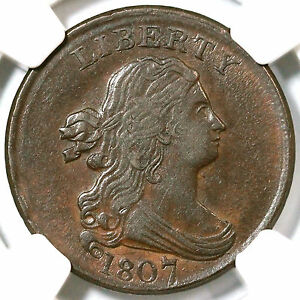 1807 C-1 NGC AU 53 Draped Bust Half Cent Coin 1/2c