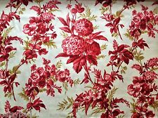 Chrysanthemum Toile Cotton Fabric Metre Anna Griffin Jolie Rouge Red French 1m
