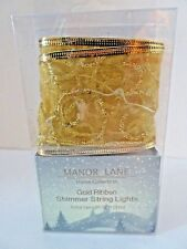 """New listing Pre-Lit Wired Manor Lane Shimmer Gold Ribbon 2 1/2"""" x 10 ft New $20"""