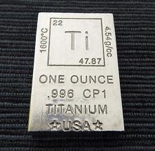 "1 Oz titanbarren ""elemento"" (1 onza avdp Titan lingotes onzas) nuevo + rar"