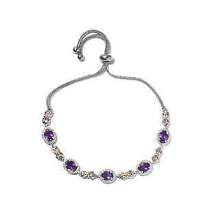 Platinum Plated Amethyst Bolo Bracelet Stainless Steel Jewelry Gift For Her Ct 2