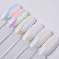 6Pcs Unicorn White Nail Art Pigment Decor Holographic Aurora Nail Glitter Powder