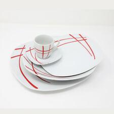 Servizio di Piatti in Porcellana Bianco Rosso Moderno 31 Pezzi Omnia Casa Erika