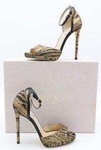 NIB Jimmy Choo Pearl 120 Moire Metallic Gold Black Ankle Buckle Sandals 6.5 36.5