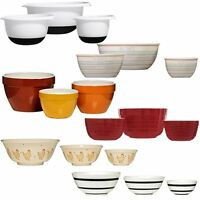 Set of 3 Mixing Salad Cooking Baking Bowls Different Colours Style For Kitchen