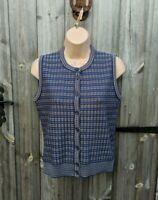 Vtg Jaeger 8 10 Blue Sleeveless Cardigan Women's Landgirl Wartime Country Wool