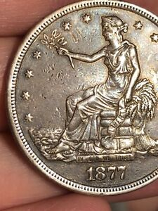 1877 S Silver Trade Dollar- XF Details