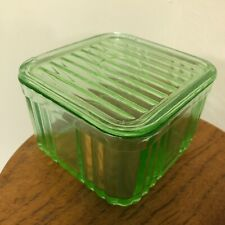 Depression Glass Bright Green Square Ribbed Refrigerator Butter Box with Lid