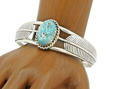 .925 Solid Silver Handmade Cuff Navajo Indian Natural Nevada Turquoise