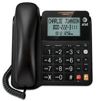 AT&T Black Landline Phone Corded Home Office Desk Wall Telephone Large Display