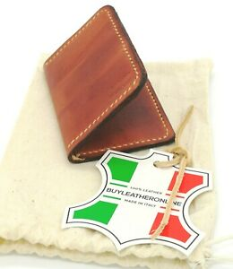Compact Real Italian Leather Card Wallet Mahogany  Handmade