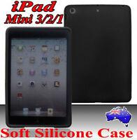 Premium Silicone Rubber Case Cover For Apple iPad Mini 3/2/1 BLK,Soft Slim Skin