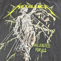 "Bravado Metallica Men's Black Lime & White ""And Justice For All"" T-Shirt Size L"