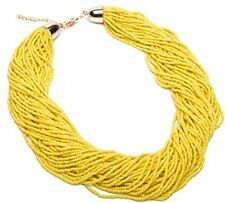 Fashion Hand Made Yellow Resin Mini Beads Chain Choker Statement Collar Necklace