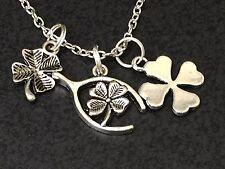 "BIN Wishbone Four Leaf Clover Good Luck Charm Tibetan Silver 18"" Necklace H14"