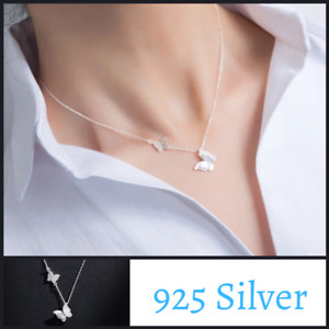 Sterling Silver 925 Butterfly Necklace Pendant Chain Jewelry Women Gift Elegant