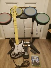 Xbox 360 Rock Band BUNDLE Wired Drums, Pedal And Guitar and Game Tested