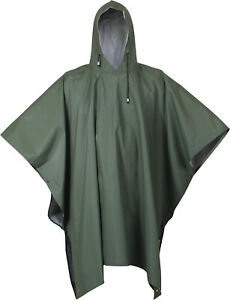 Olive Drab Waterproof Rain Poncho Heavy Duty Durable Rubber Emergency Protection