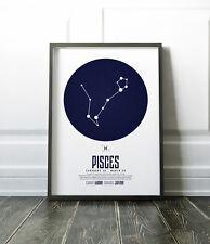 Zodiac Star Signs Print / Picture Pisces / Modern / Minimalist Wall Art