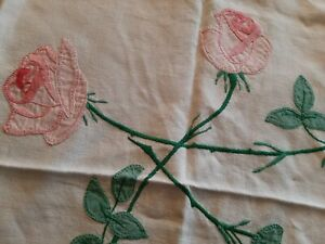 Vintage Farmhouse Linens Tablecloths Hand Embroidery Roses