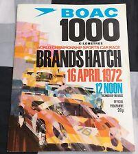 1972 1000KM BRANDS HATCH SPORTS CAR PROGRAMME FERRARI 312 ICKX PETERSON ALFA T33