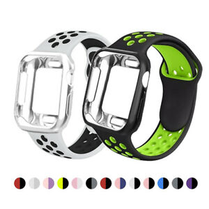 Silicone Band With Case For Apple Watch Band iWatch 1/2/3/4/5/6/SE 38/40/42/44mm