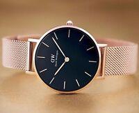Daniel Wellington Classic Petite DW00100161 Schwarz Rosé Gold NEU 32mm DW Uhr