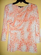 NWT Antonio Melani Orange Ivory 3/4 Sleeve V-neck Crossover Faux Wrap Tunic Sz M