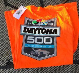 Men's Large Hi-Vis Orange 2015 Daytona 500 57th Annual Racing T-Shirt NWT