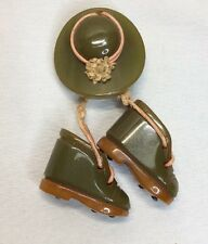 Vintage Bakelite Pin- Hat With 2 Dangling Boots (c58)