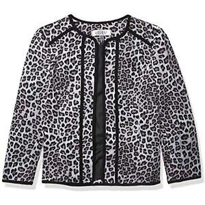 MSRP $129 Kasper Women's Plus Size Leopard Printed Fly Away Jacket Gray Size 18W
