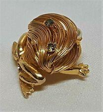 Schmuckstück Vintage Brosche Metall Vergoldet Filigran Kristall Perle IN Glas J8