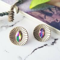 Round vintage boho gold & marquise mystic topaz stone stud earrings