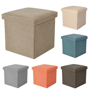 Folding Storage Stool Ottoman Box Bench Collapsible Chest Footrest Bin w/ Cover