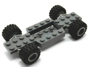LEGO Dark Grey Car Chassis Base 4 x 12 x 0.66 with Wheel & Holders Plate 52036