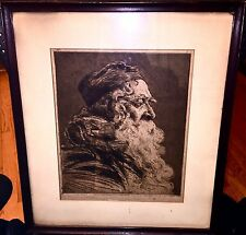 """Antique Steel Plate Engraving/Etching Herman Struck """"Portrait"""" Signed 19x16"""""""